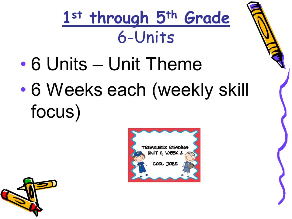 1 st through 5 th Grade 6-Units 6 Units – Unit Theme 6 Weeks each (weekly skill focus)