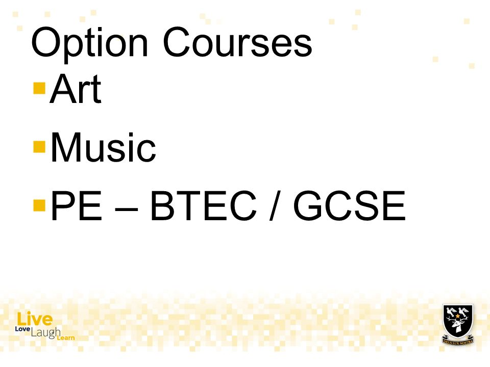 Option Courses  Art  Music  PE – BTEC / GCSE