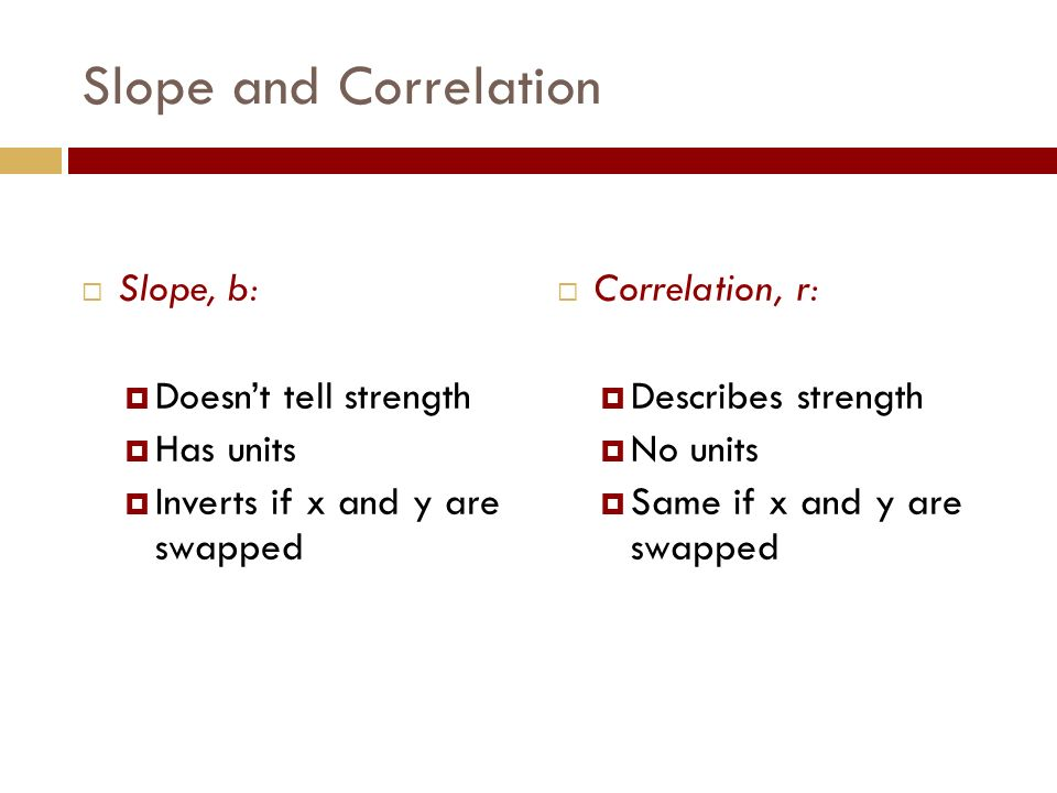 Slope and Correlation  Correlation, r:  Describes strength  No units  Same if x and y are swapped  Slope, b:  Doesn't tell strength  Has units  Inverts if x and y are swapped