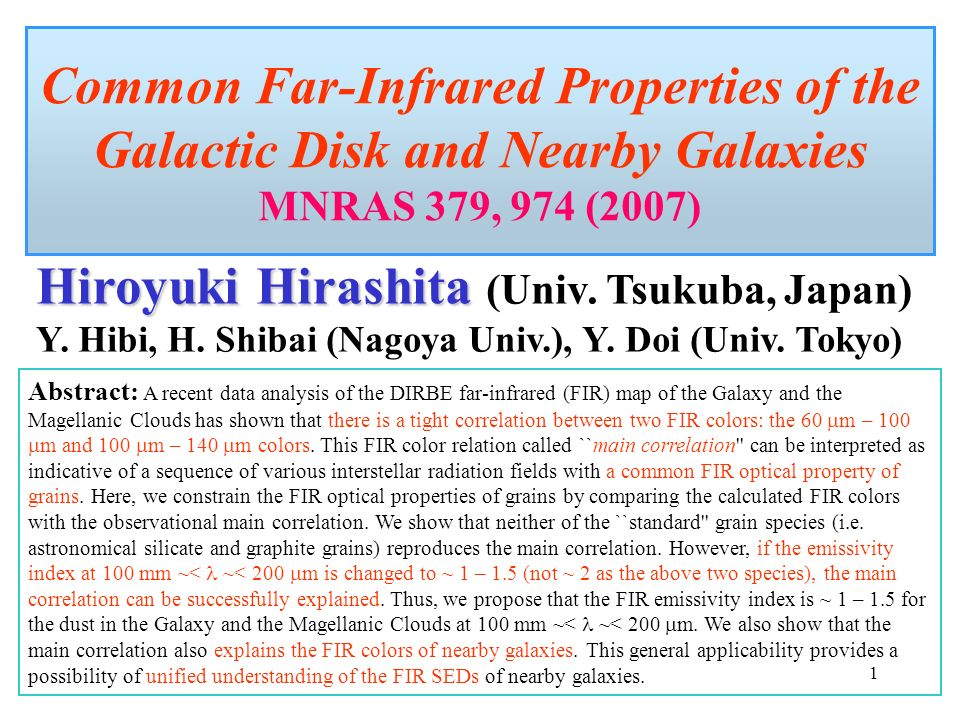 1 Common Far Infrared Properties Of The Galactic Disk And Nearby Galaxies MNRAS 379