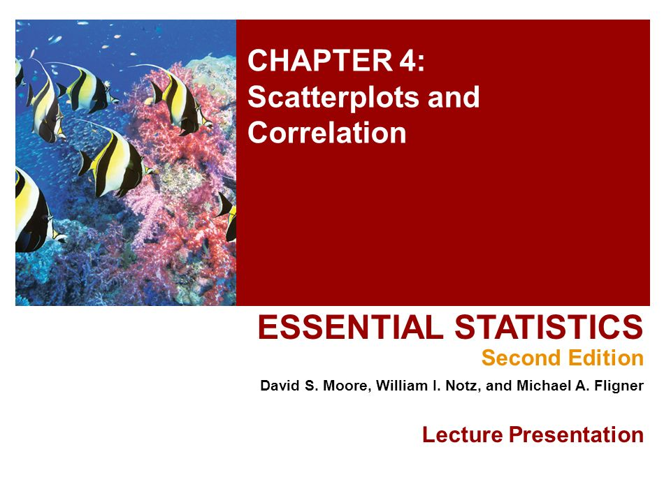 CHAPTER 4: Scatterplots and Correlation ESSENTIAL STATISTICS Second Edition David S.