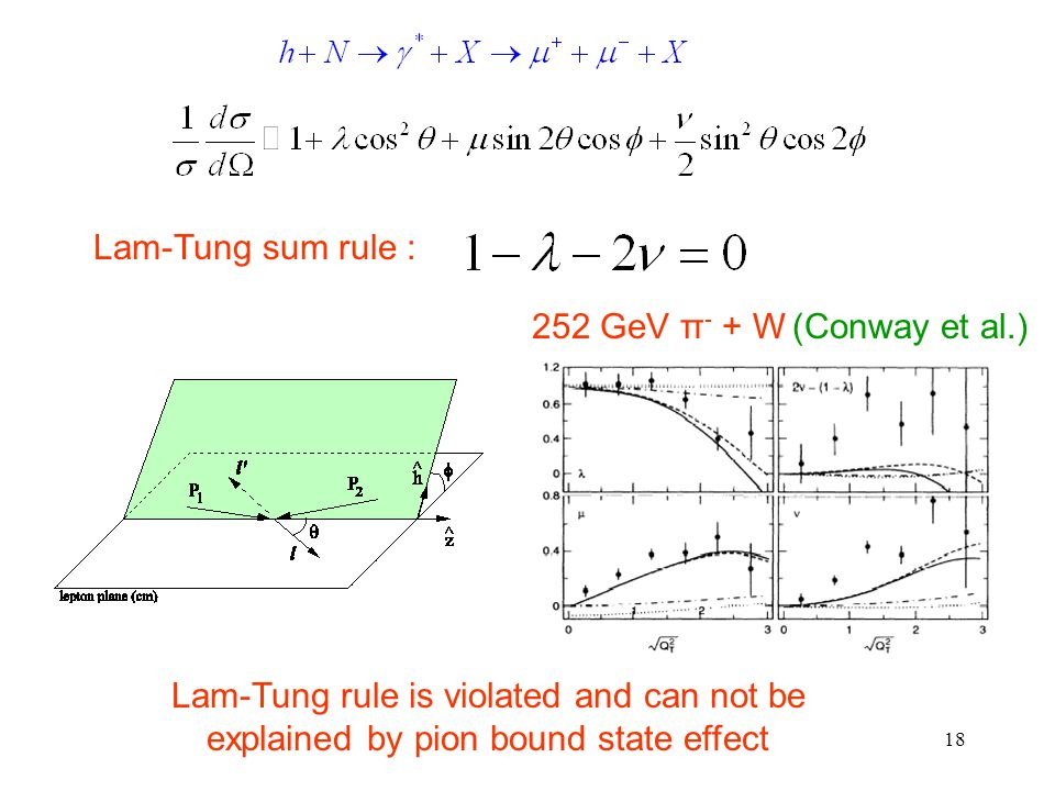 18 (Conway et al.)252 GeV π - + W Lam-Tung sum rule : Lam-Tung rule is violated and can not be explained by pion bound state effect