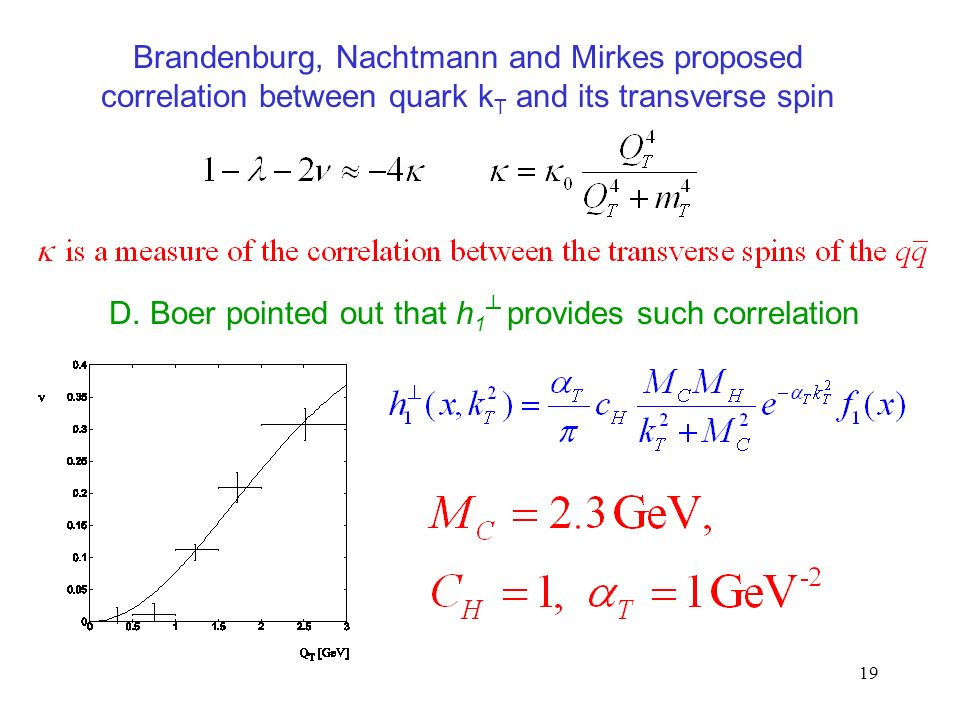 19 Brandenburg, Nachtmann and Mirkes proposed correlation between quark k T and its transverse spin D.