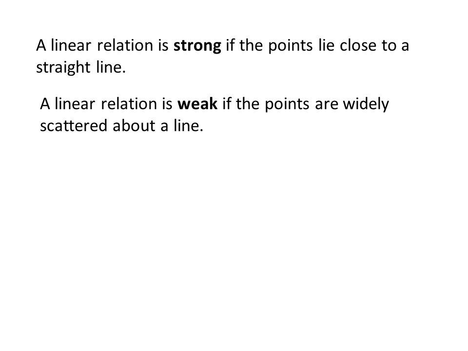 A linear relation is strong if the points lie close to a straight line.