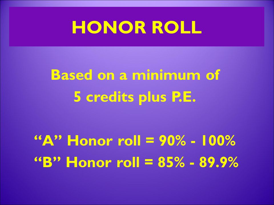 HONOR ROLL Based on a minimum of 5 credits plus P.E.
