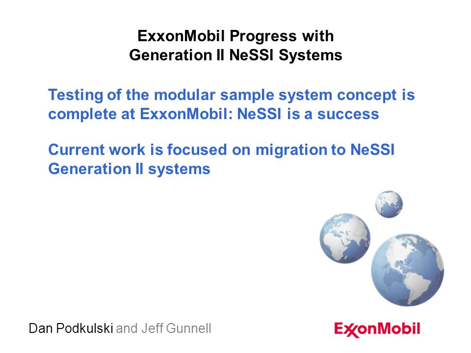 exxonmobil progress with generation ii nessi systems dan podkulski rh slideplayer com Civil Engineering Manuals Loudoun Water Design Manual
