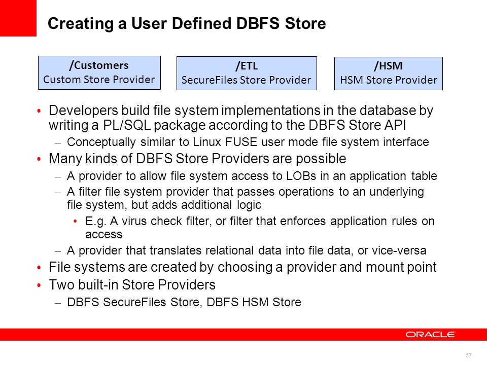 1  Oracle Database 11g SecureFiles and Database File System (DBFS