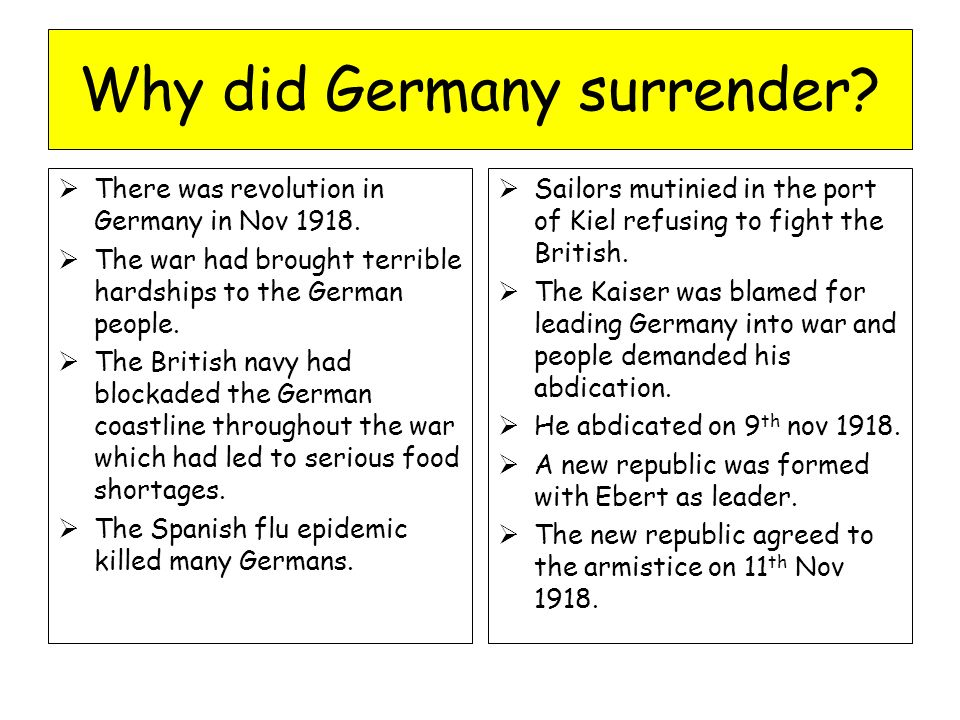 when did germany surrender in ww1