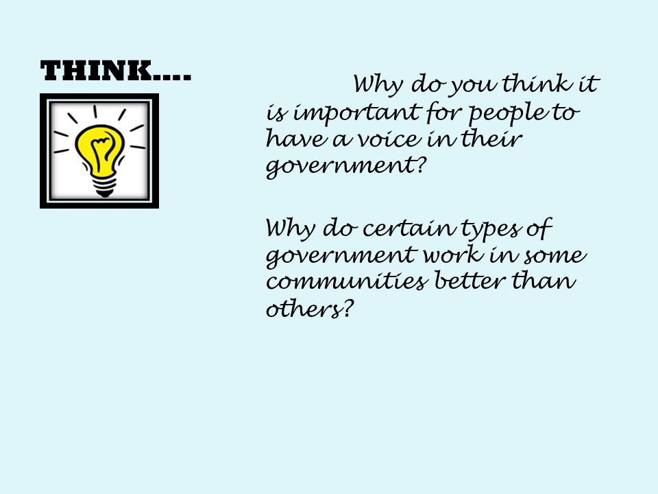 THINK…. Why do you think it is important for people to have a voice in their government.