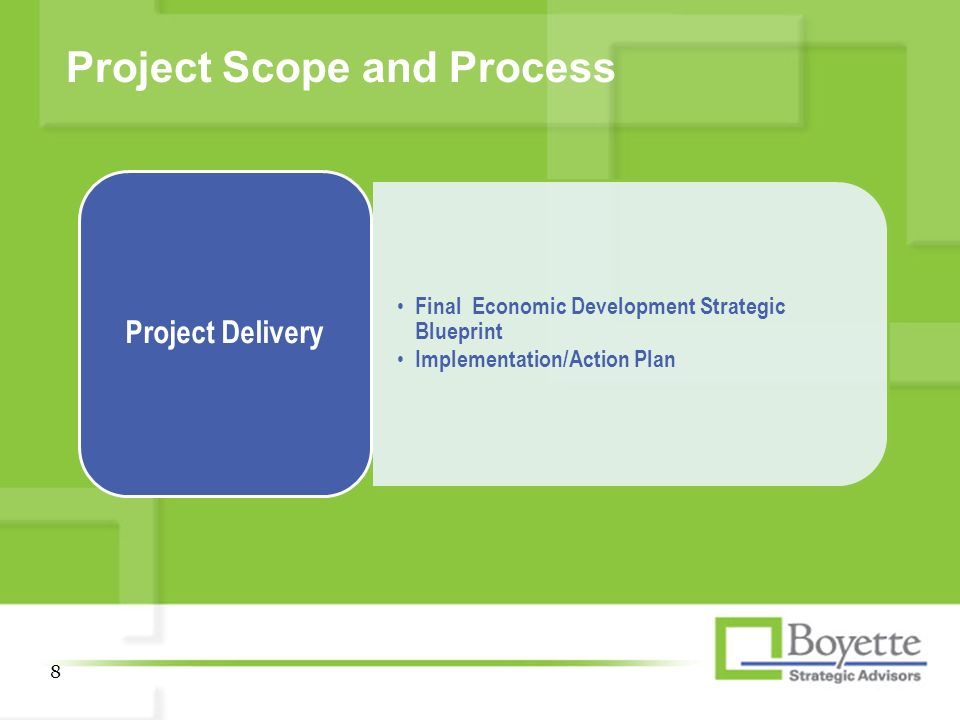 Project launch meeting economic development strategic blueprint 8 project scope and process 8 final economic development strategic blueprint implementationaction plan project delivery malvernweather Image collections