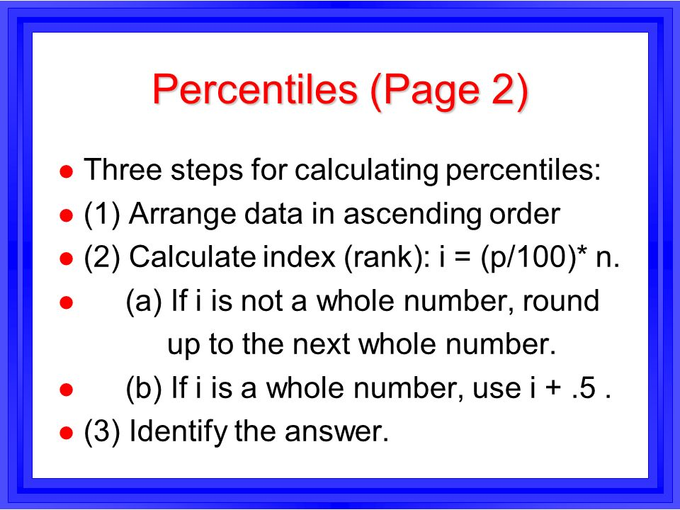 Measures of Central Location (Averages) and Percentiles BUSA