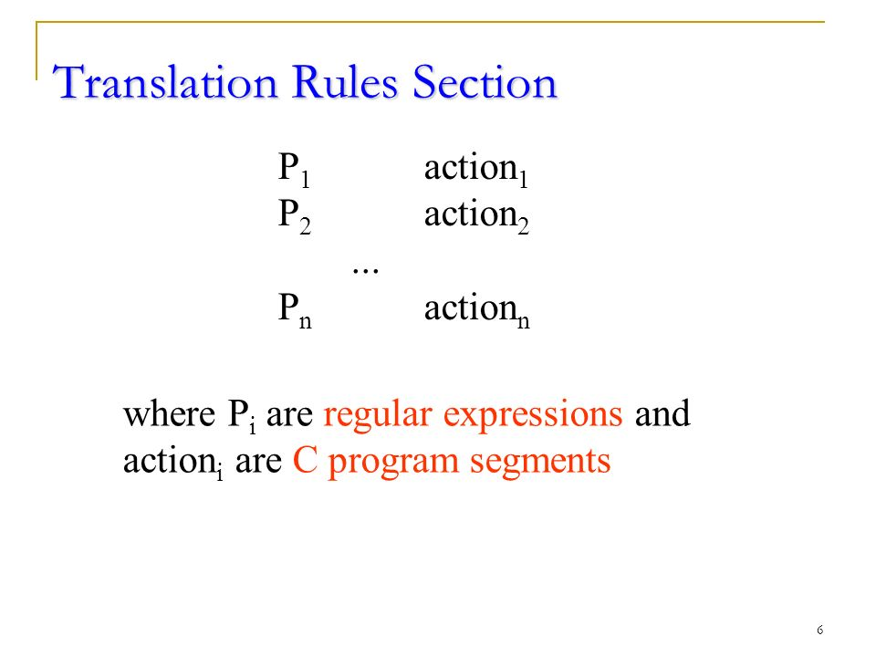 6 Translation Rules Section P 1 action 1 P 2 action 2...
