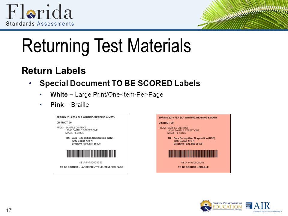 Florida Standards Assessments Paper-Based Materials SCHOOL