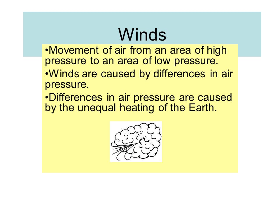 Winds Movement of air from an area of high pressure to an area of low pressure.
