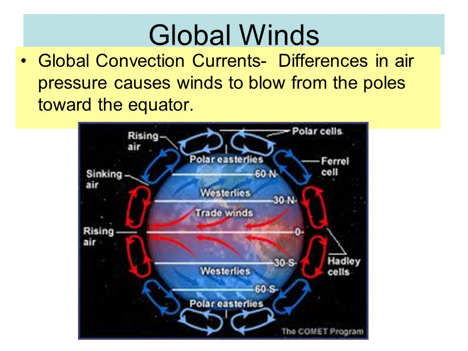 Global Winds Global Convection Currents- Differences in air pressure causes winds to blow from the poles toward the equator.