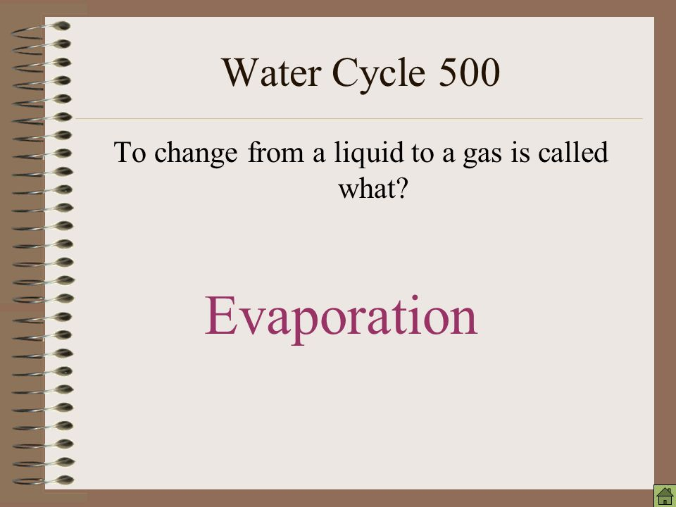 Water Cycle 100 To change from a gas to a liquid is called what condensation
