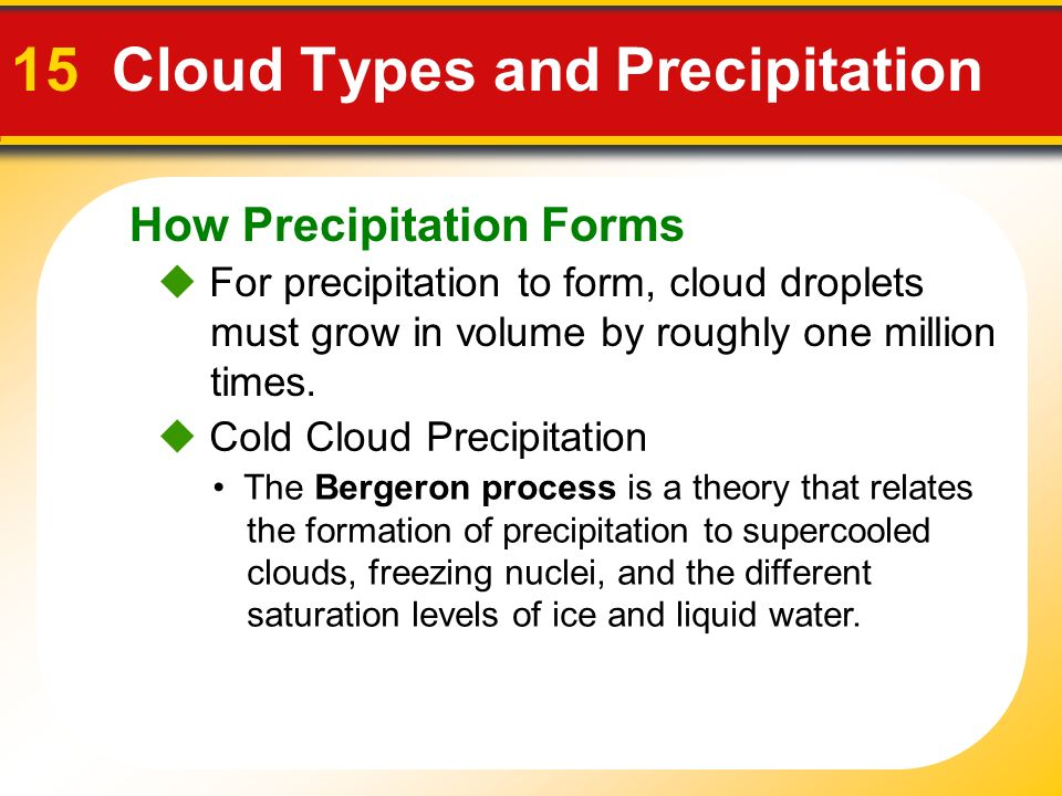 How Precipitation Forms 15 Cloud Types and Precipitation  For precipitation to form, cloud droplets must grow in volume by roughly one million times.
