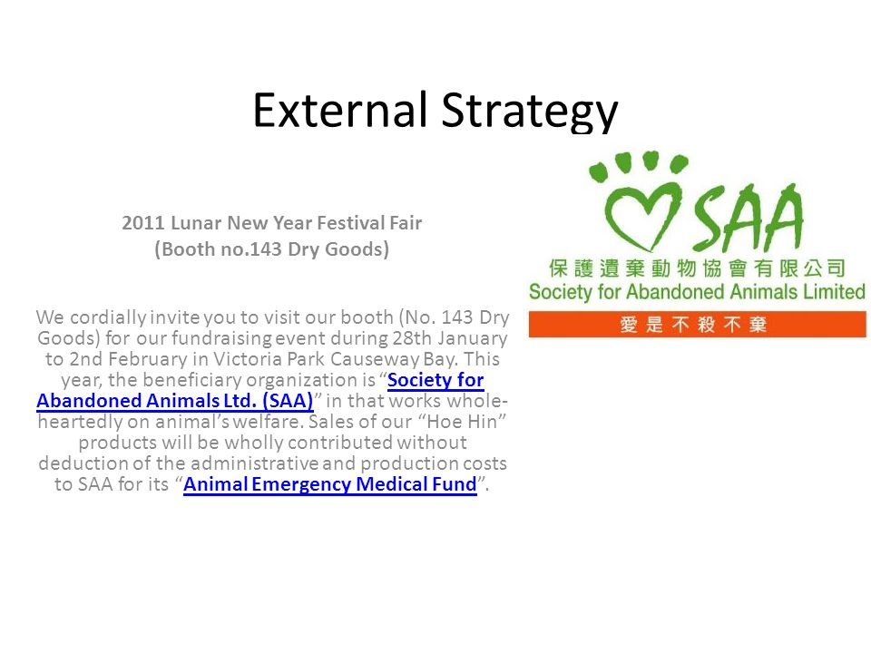 external strategy 2011 lunar new year festival fair booth no143 dry goods