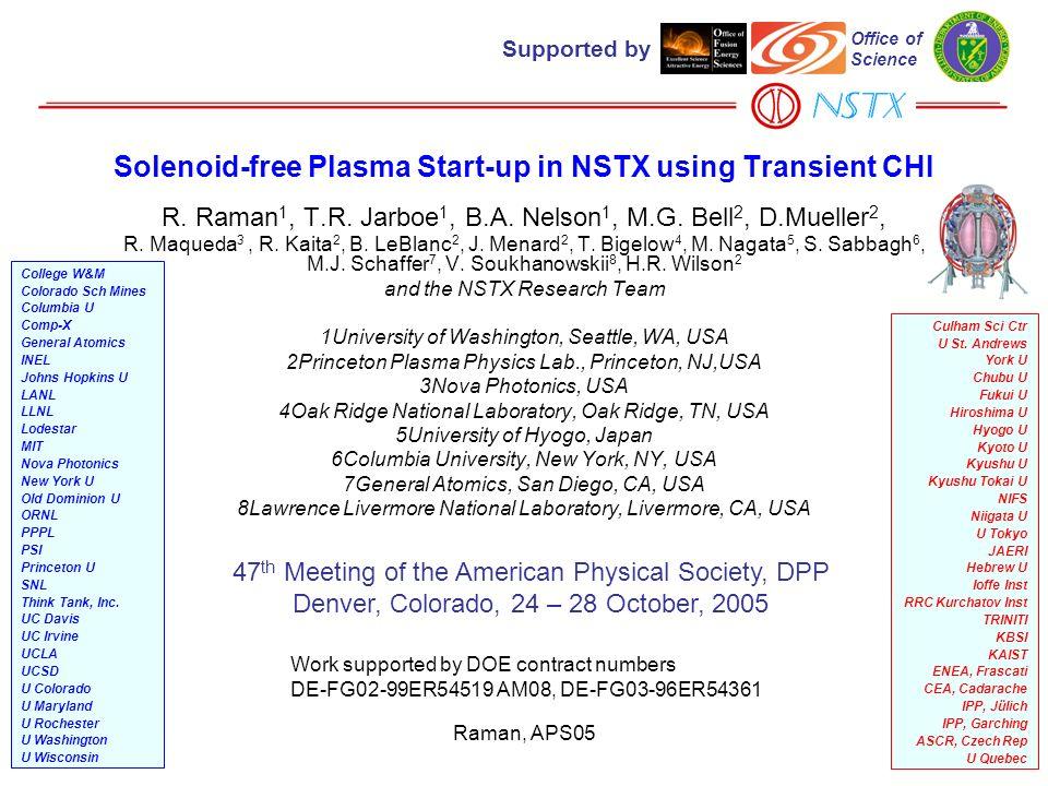 Raman, APS051 Solenoid-free Plasma Start-up in NSTX using Transient