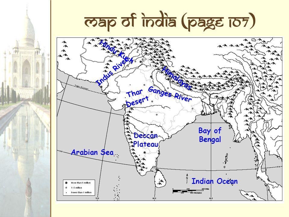 Nice 3 Map Of India (Page 107) Indus River Ganges River Arabian Sea Indian Ocean  Bay Of Bengal Himalayas Hindu Kush Thar Desert Deccan Plateau