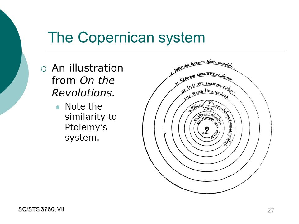 1 SC/STS 3760, VII The Copernican Revolution The Earth moves and