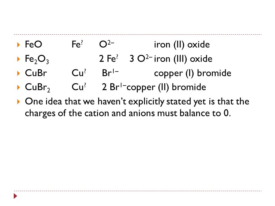 Writing and Naming Ionic Compounds with Changing Oxidation