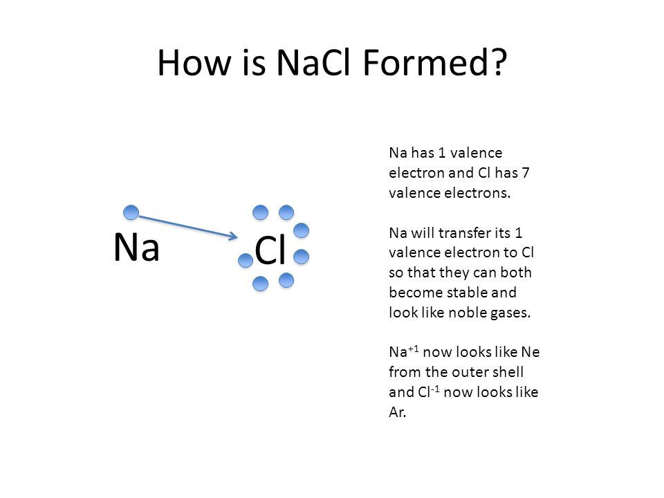 How is NaCl Formed. Na Cl Na has 1 valence electron and Cl has 7 valence electrons.