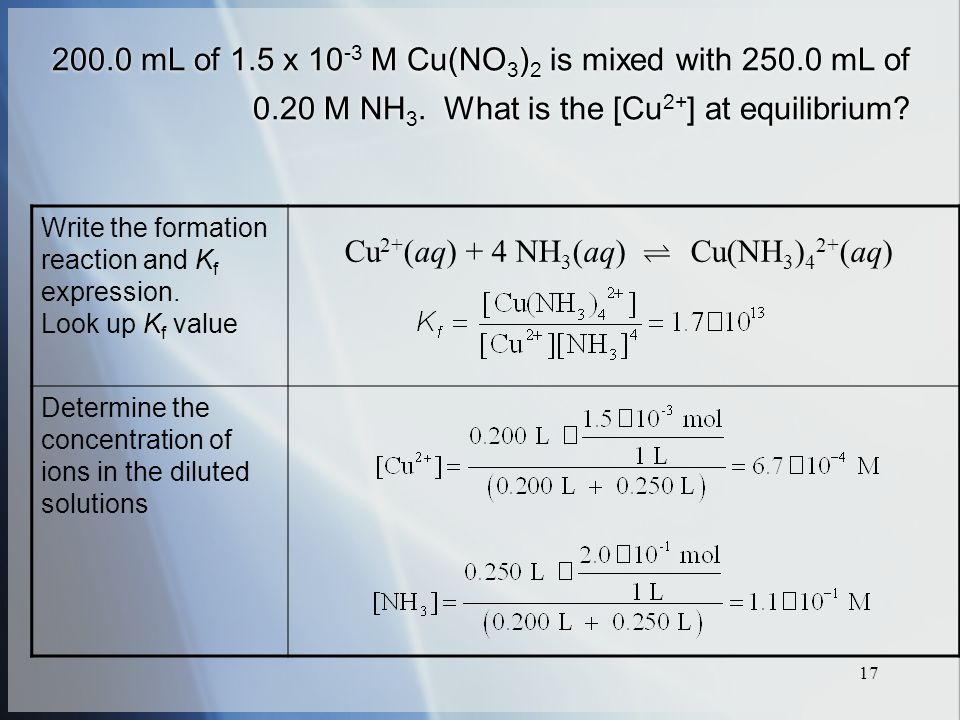 mL of 1.5 x M Cu(NO 3 ) 2 is mixed with mL of 0.20 M NH 3.
