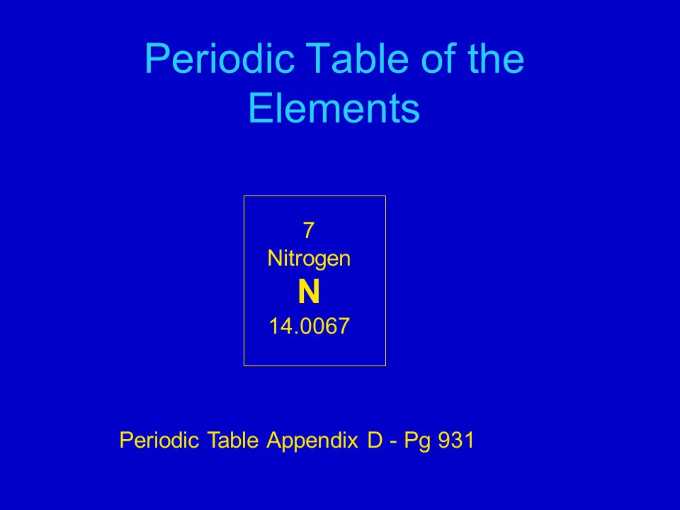 Periodic Table of the Elements 7 Nitrogen N Periodic Table Appendix D - Pg 931