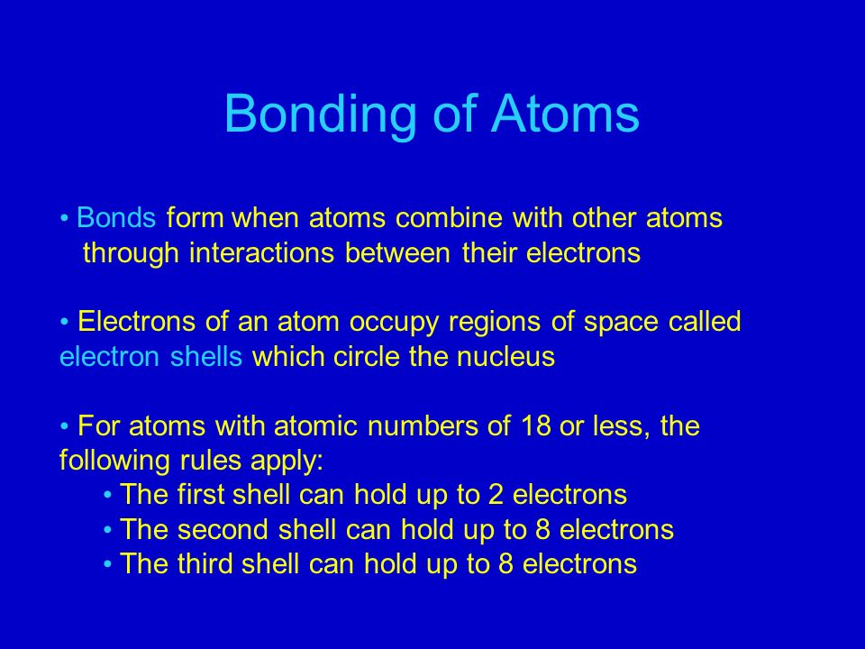 Bonding of Atoms Bonds form when atoms combine with other atoms through interactions between their electrons Electrons of an atom occupy regions of space called electron shells which circle the nucleus For atoms with atomic numbers of 18 or less, the following rules apply: The first shell can hold up to 2 electrons The second shell can hold up to 8 electrons The third shell can hold up to 8 electrons