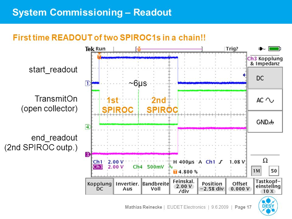 Mathias Reinecke | EUDET Electronics | | Page 17 System Commissioning – Readout start_readout TransmitOn (open collector) end_readout (2nd SPIROC outp.) 1st 2nd SPIROC First time READOUT of two SPIROC1s in a chain!.