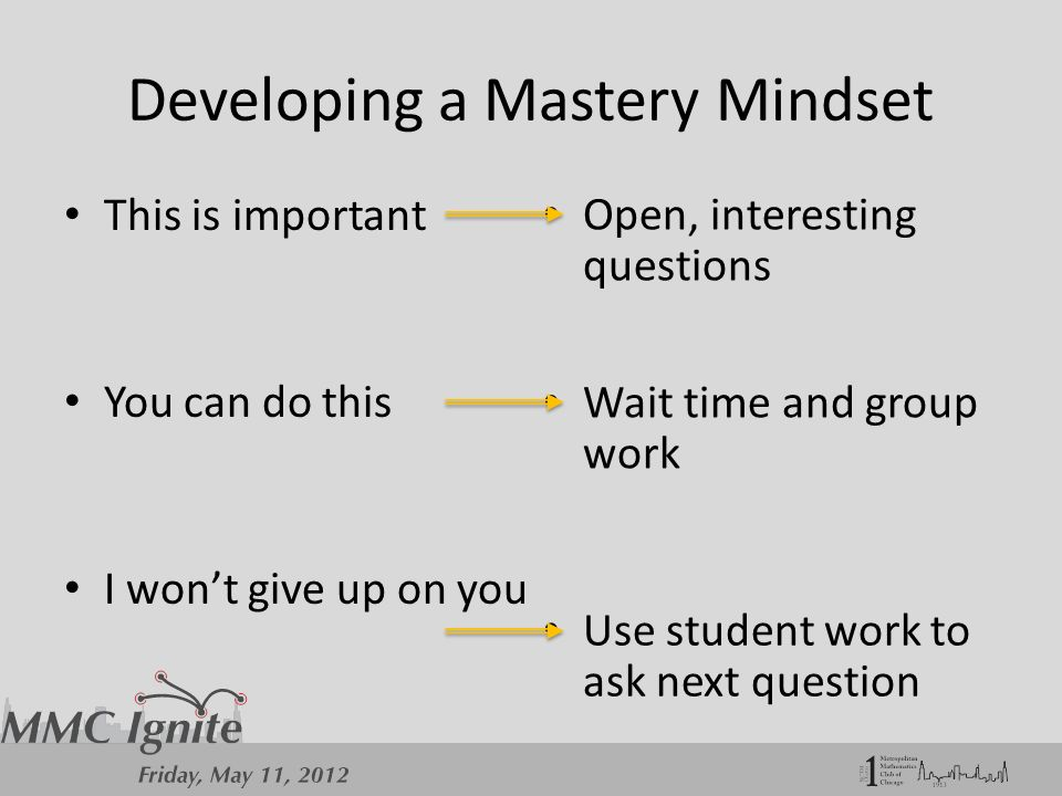 Developing a Mastery Mindset This is important You can do this I won't give up on you Open, interesting questions Wait time and group work Use student work to ask next question