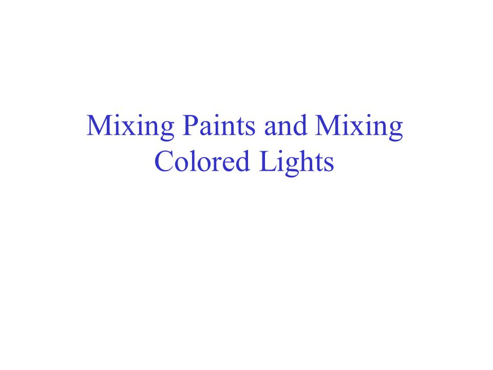 Mixing Paints and Mixing Colored Lights