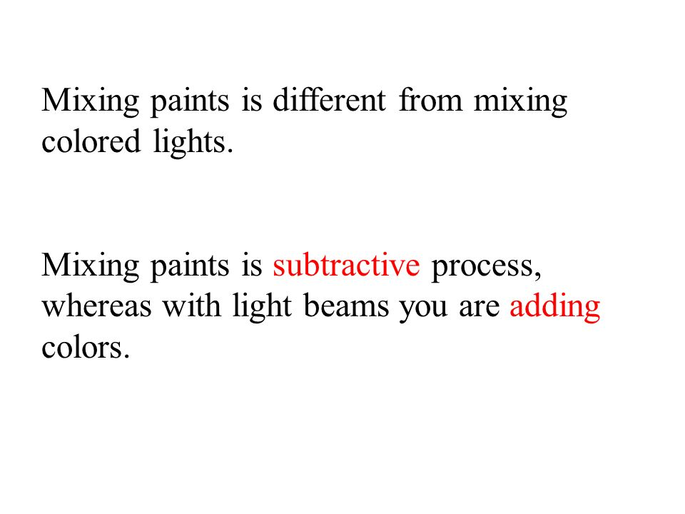 Mixing paints is different from mixing colored lights.