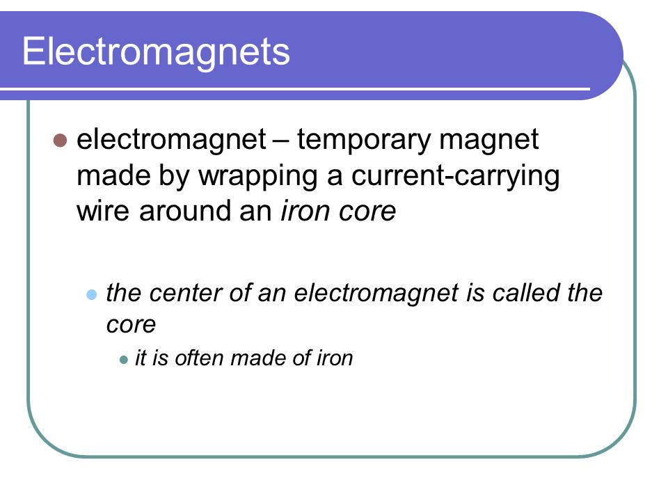 Electricity and Magnetism a wire carrying an electric current always has a magnetic field around it the magnetic field in a straight wire is not very strong if the wire is wound into a coil, the magnetic field becomes much stronger as the individual magnetic fields overlap the greater the number of coils, the stronger the magnetic field