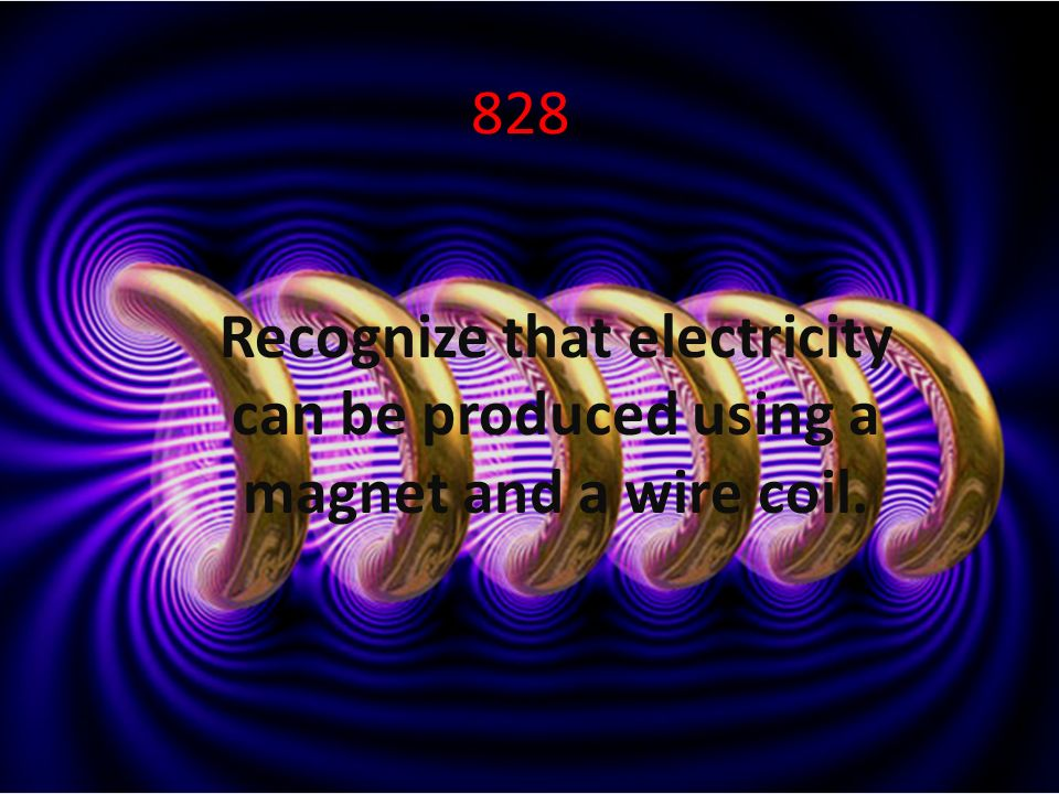 828 Recognize that electricity can be produced using a magnet and a wire coil.
