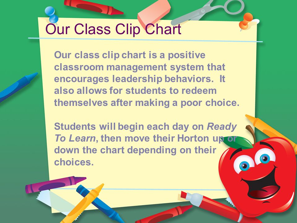 Our Class Clip Chart Our class clip chart is a positive classroom management system that encourages leadership behaviors.
