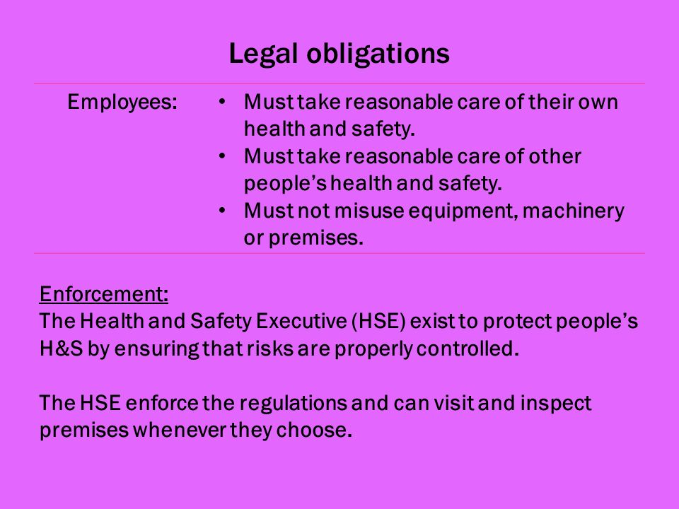 Legal obligations Employees: Must take reasonable care of their own health and safety.