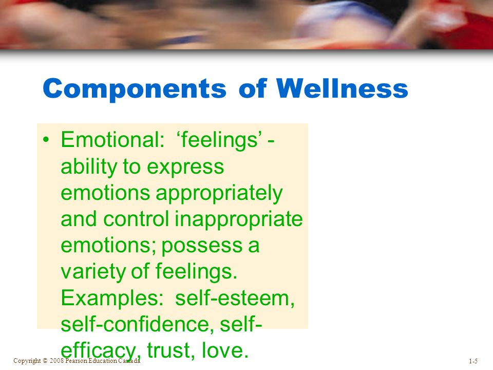 Copyright © 2008 Pearson Education Canada 1-5 Components of Wellness Emotional: 'feelings' - ability to express emotions appropriately and control inappropriate emotions; possess a variety of feelings.