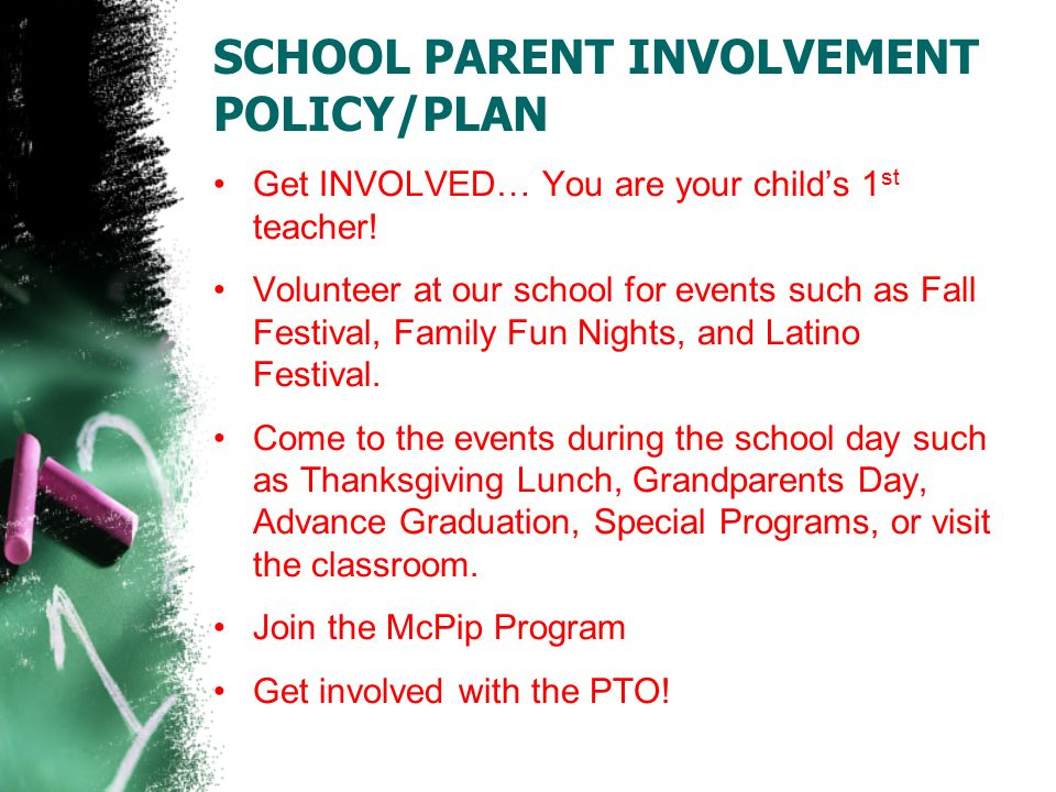 SCHOOL PARENT INVOLVEMENT POLICY/PLAN Get INVOLVED… You are your child's 1 st teacher.