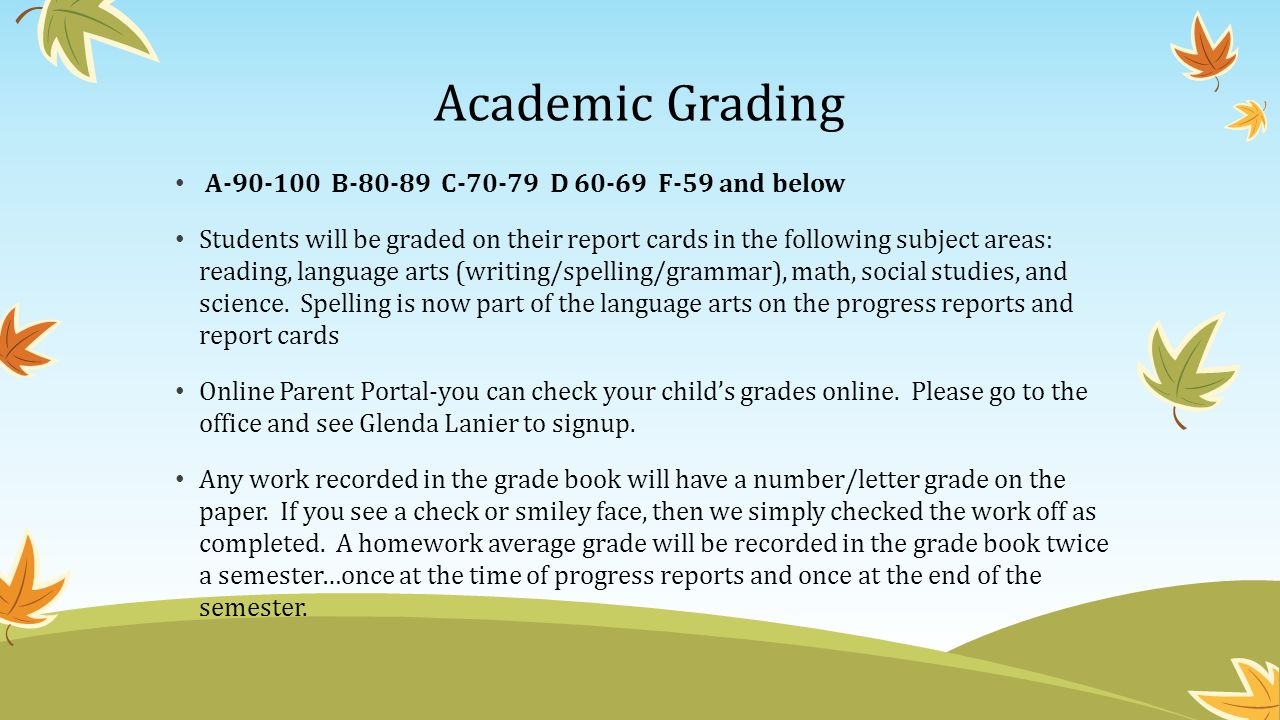 Academic Grading A B C D F-59 and below Students will be graded on their report cards in the following subject areas: reading, language arts (writing/spelling/grammar), math, social studies, and science.