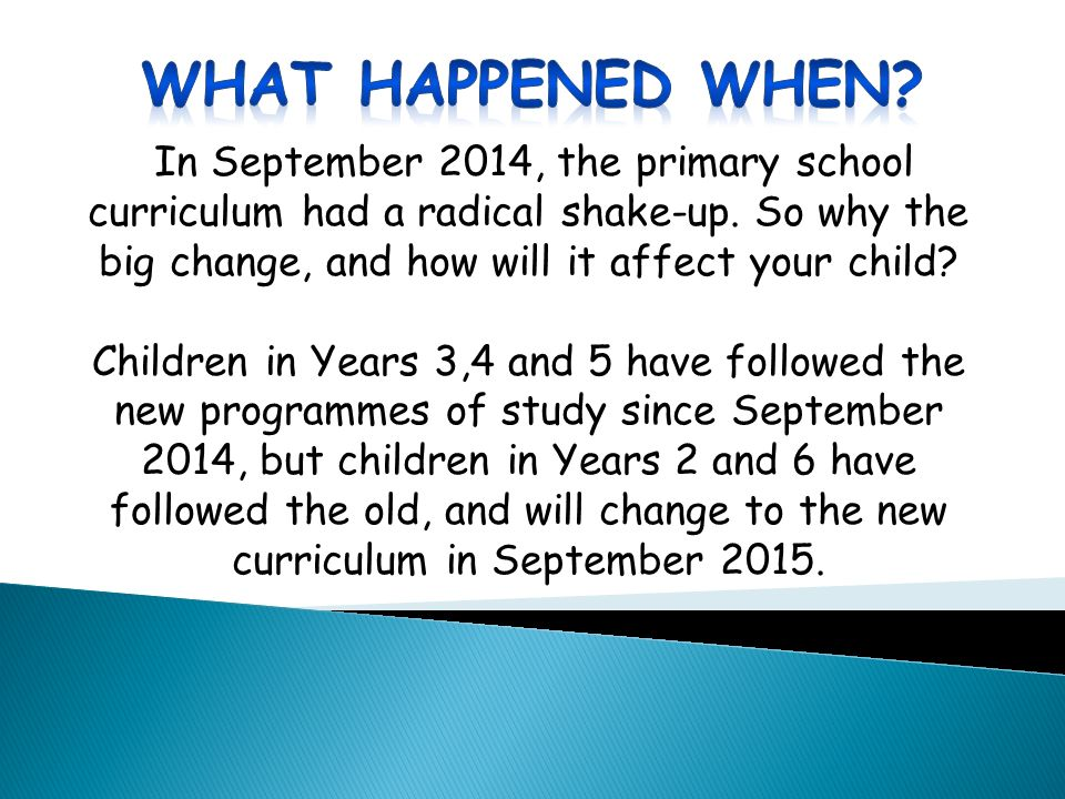 In September 2014, the primary school curriculum had a radical shake-up.