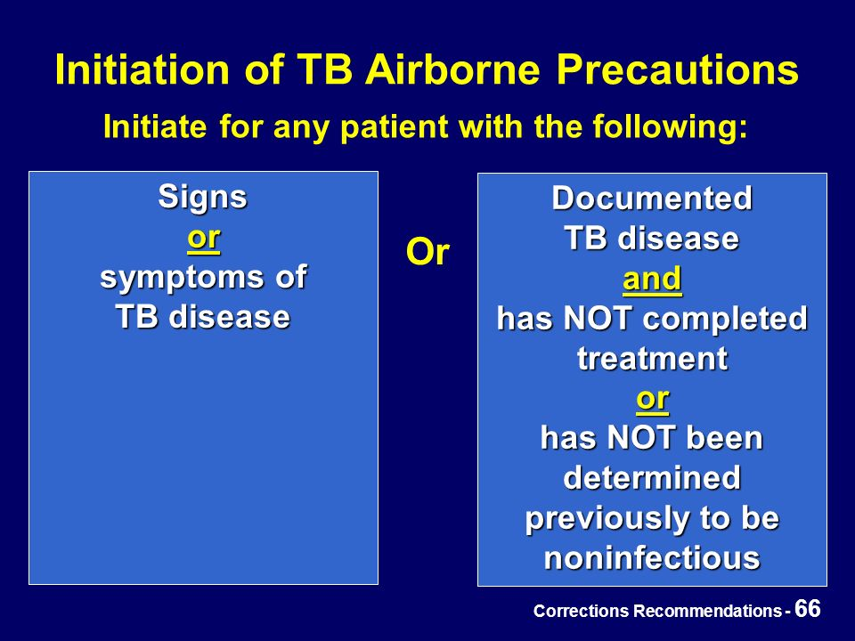 Corrections Recommendations - 66 Initiation of TB Airborne Precautions Signs or symptoms of TB disease Documented TB disease and has NOT completed treatment or has NOT been determined previously to be noninfectious Or Initiate for any patient with the following: