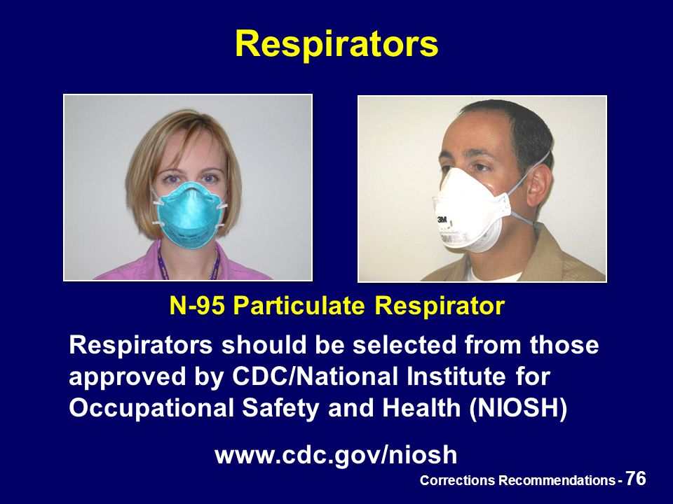 Corrections Recommendations - 76 Respirators N-95 Particulate Respirator Respirators should be selected from those approved by CDC/National Institute for Occupational Safety and Health (NIOSH) www.cdc.gov/niosh