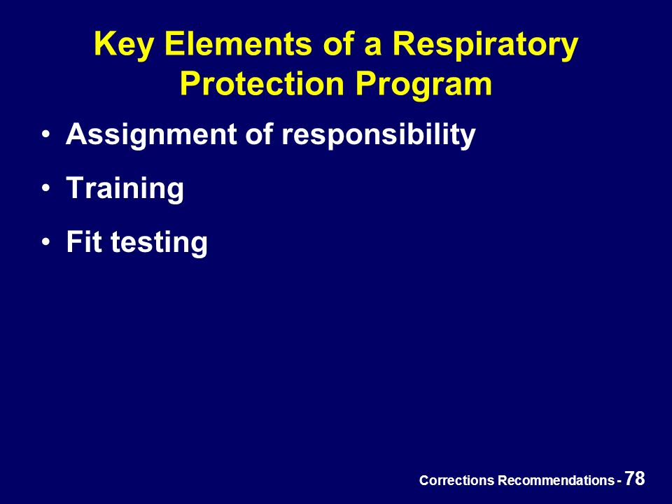 Corrections Recommendations - 78 Key Elements of a Respiratory Protection Program Assignment of responsibility Training Fit testing