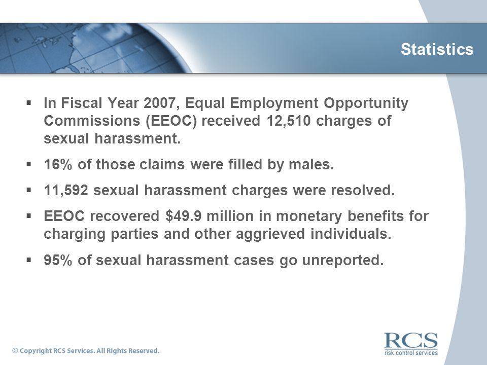 Sexual harassment cases statistics definitions