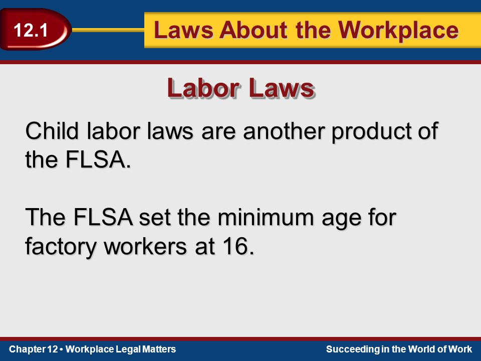 Chapter 12 Workplace Legal MattersSucceeding in the World of Work Laws About the Workplace 12.1 Child labor laws are another product of the FLSA.