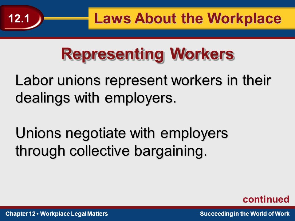 Chapter 12 Workplace Legal MattersSucceeding in the World of Work Laws About the Workplace 12.1 Labor unions represent workers in their dealings with employers.