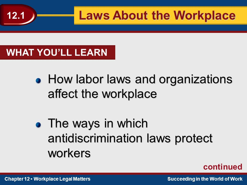 Chapter 12 Workplace Legal MattersSucceeding in the World of Work Laws About the Workplace 12.1 WHAT YOU'LL LEARN How labor laws and organizations affect the workplace The ways in which antidiscrimination laws protect workers continued