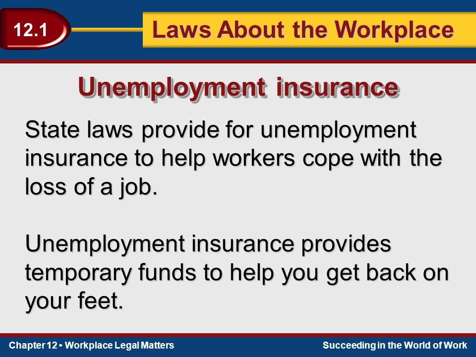 Chapter 12 Workplace Legal MattersSucceeding in the World of Work Laws About the Workplace 12.1 State laws provide for unemployment insurance to help workers cope with the loss of a job.